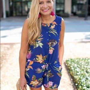 Tropical romper with tie waist